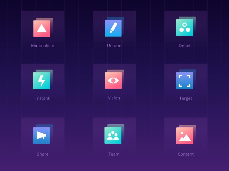 Icons set shot rw