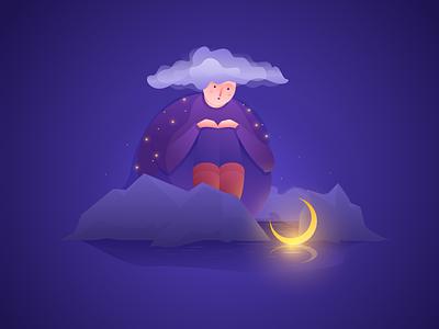 Children's Book Illustration fairy tale children mountains lady clouds stars moon zajno web design character illustration book