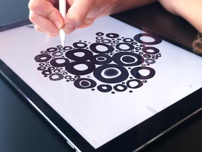 New iPad Pro Artwork Sketching drawing digital painting process creative clean waterlife texture pattern adobe draw experiment print ui zajno hand drawn black and white illustration ipad pro