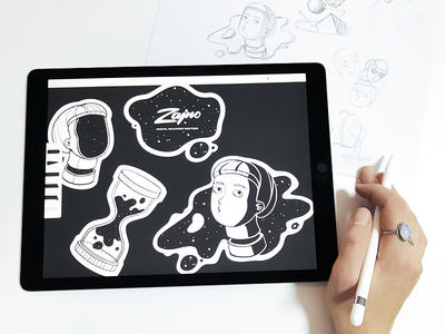 Brand Sticker Pack Made With iPad Pro stuff simple clean modern neat experimental drawing black and white adobe draw ipad pro spaceman ui creativity hourglass brand art sketch stickers space zajno