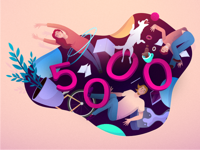 Zajno: 5,000 Followers Celebration Illustration ui numbers plant gravity celebration coffee zajno guy girl dog bike illustration