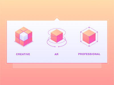 Mega Menu Icons for Web Application product design features icon menu zajno ui ux shape geometric ar cube web application