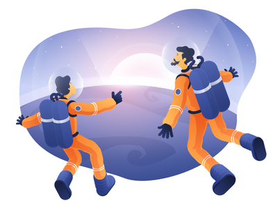 Illustration for a New Article by Zajno company business story zajno answer space astronaut ultimate question why medium article