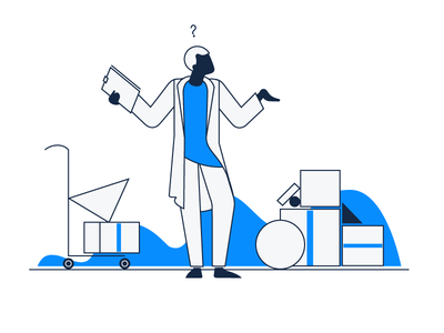 'Product Not Found' Empty State Illustration creative blue and white digital painting vector art illustrative design design 2d informative ux clean app ipad zajno simple minimalistic empty state not found product illustration