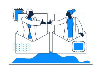Custom Suppliers Feature Illustration illustrative design 2d vector digital painting art design creative blue and white ux clean app zajno simple minimalistic stamp post feature supplier custom illustration