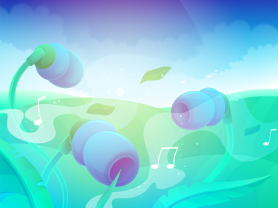 Loading Screen for Music App inspiration product accessories gadget technology nature metaphor abstract art flower storytelling simple zajno application tune meadow earphones background image loading screen illustration music