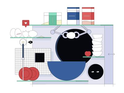 Medium Article: New Illustration Style food egg eyes experiment publication geometric design branding flat video animation 2d delicious futuristic metaphor abstract article medium zajno animated illustration
