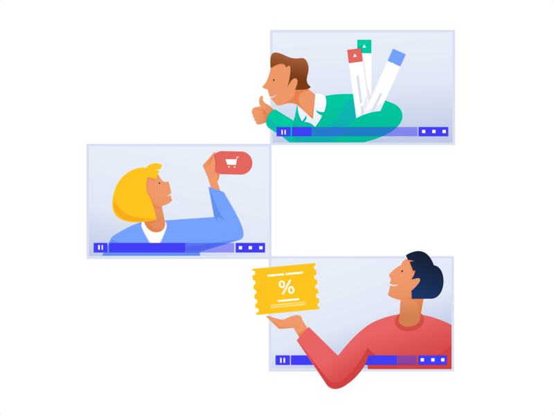Illustrations for a Video Hosting & Marketing Platform expressive character office casual informal hipster bright colors marketing platform rebranding human centered friendly live vector ui ux business app design character illustration zajno