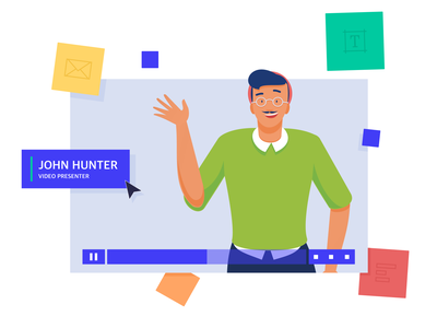 Illustrations for a Video Hosting & Marketing Platform app friendly human centered rebranding marketing platform business bright colors hipster informal casual video player expressive character design branding flat video software zajno new style smart illustration