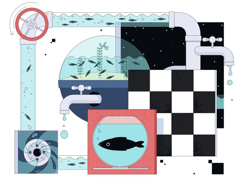 Case Study: Helping California Save Water clean save water water color case study experiment experimental publication geometric design flat 2d futuristic metaphor abstract symbol article medium new style zajno illustration