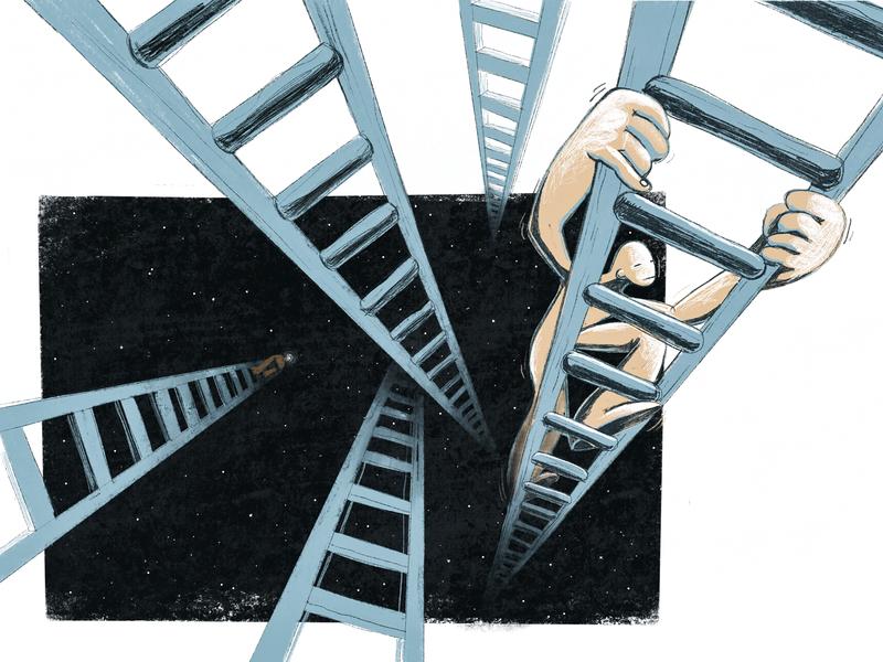 Everyone Has Their Own Path dark metaphor up texture character growth path light darkness ladder climb motivation style minimal ipad pro procreate ipad pro hand drawn inspiration illustration zajno