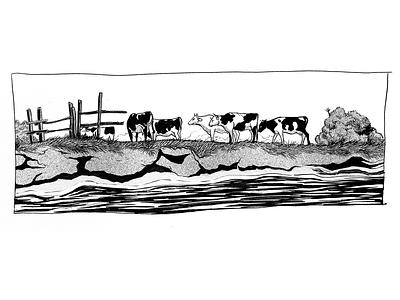 Inktober 2019 - River Scenery illustrated animal nature clean simple minimal drawing flat draw procreate ipad pro cow poster graphic design ink inktober creative art inspiration illustration zajno