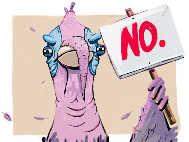 Turkey Says No thanksgiving animal cruelty turkey zajno illustration