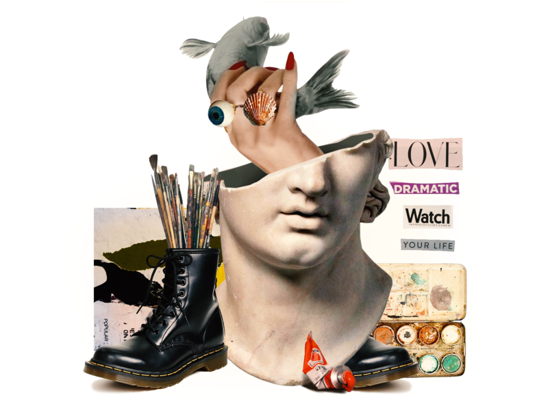 Collage for Medium Article abstract metaphor design card cover print poster art collage flat zajno