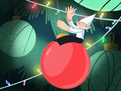Christmas Elf on a Wrecking Ball ball tree elf christmas lights illustration zajno