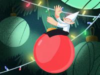 Christmas Elf on a Wrecking Ball