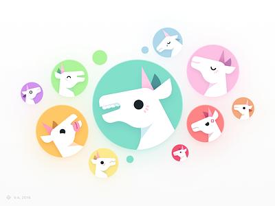 Unicorn Utterances — Avatars vector illustration avatar icons unicorns avatar vector figma branding icon illustration graphics design