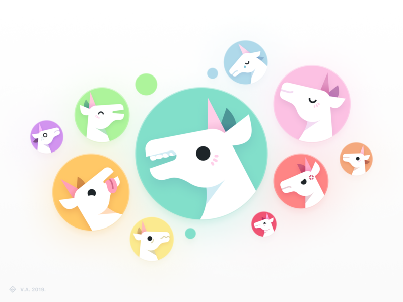 Unicorn Utterances — Avatars vector illustration avatar icons unicorns avatar vector figma branding icon illustration graphics design