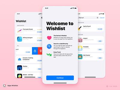 Apps Wishlist — App Design user inteface ios app design ios app brand app vector figma branding ux ui graphics design