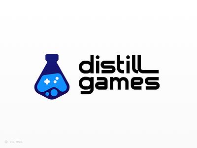 distill games — Logo gaming game company game company logo game logo game brand vector figma icon logo branding illustration graphics design