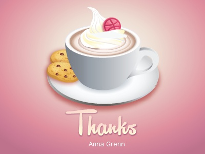 Thank You Dribbble thank you cup dribbble coffee vector