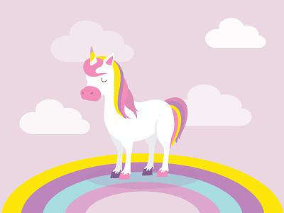 Unicorn purple pink clouds rainbow unicorn flat