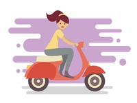 Young woman character riding fast retro scooter