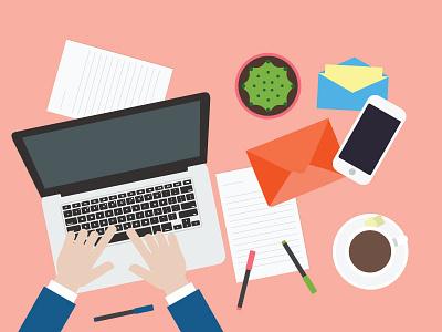 Hands On Laptop workspace illustration desk laptop flat