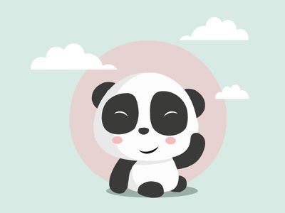 Panda Illustration vector white black panda