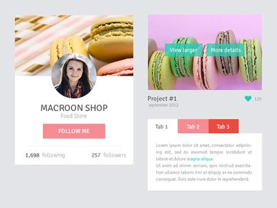 Macaroon shop UI elemets design web shop ui