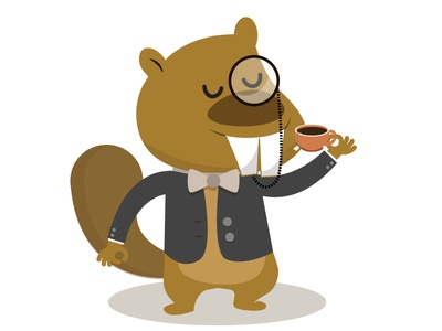 Sophisticated Beaver cartoon british tea illustration beaver