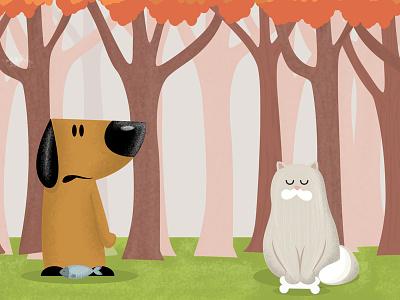 Dog and cat cartoon illustration kids illustration cat dog