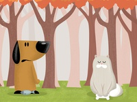Dog and cat cartoon illustration