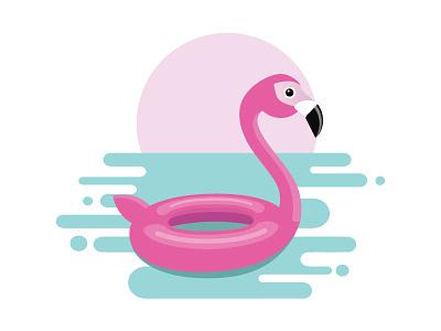 Inflatable Flamingo pink float illustration flamingo