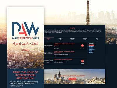 Paris Arbitration Week Onepage landing onepage audacy webiste responsive digital event agenda week arbitration paris