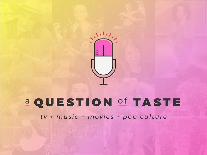 A Question Of Taste Podcast Logo microphone tongue logo-design gradient podcast identity logo branding