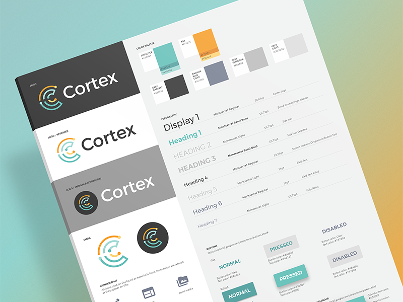 Cortex CMS Style Guide material design ui brand styles color palette logo identity branding cms style guide