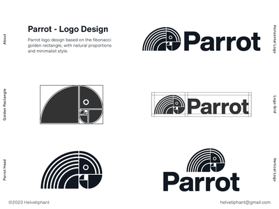 Parrot - Golden Rectangle Logo logo concept bird logo animal logo minimalist logo mark brand designer golden rectangle golden ratio fibonacci parrot logo logo designer logo design shapes vector brand design logotype typography branding icon logo