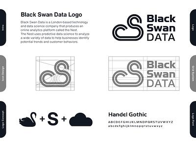 Black Swan Data - proposal grid layout shapes brand designer minimalist logo abstract logo geometric logo logo design concept s logo cloud logo swan logo cloud logo designer logo design brand design logotype typography branding icon logo