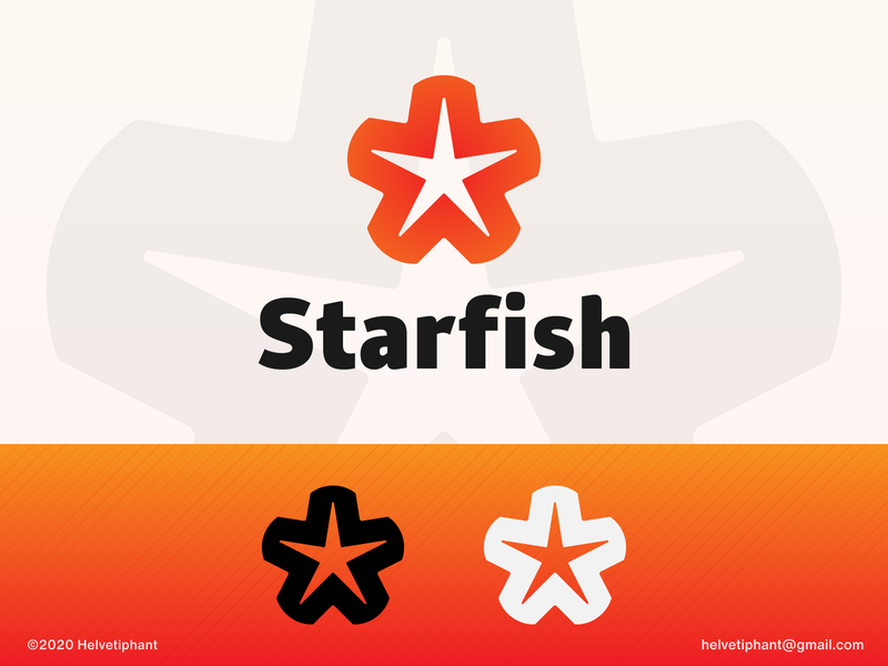 Starfish - logo concept negative space logo star logo starfish brand designer logo design concept logo design shapes graphic design brand design branding icon logo