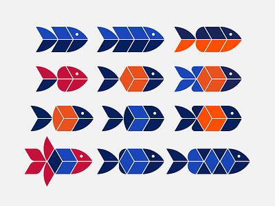 Isometric Fish - logo exploration exploration fish logo cube logo fishes cubes isometric design brand designer shapes logo design concept logo designer logo design graphic design brand design branding icon logo