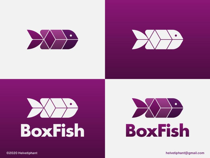 Boxfish - logo concept mark isometry box logo boxfish fish logo negative space logo shapes isometric design creative logo brand designer logo design concept logo designer logo design brand design logotype branding icon logo