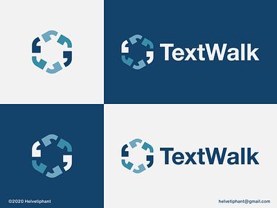 TextWalk - logo concept footsteps clever logo mark walking hexagon logo minimalist logo apostrophe text walk texting logo designer brand designer logotype logo design creative logo logo design concept brand design branding icon logo
