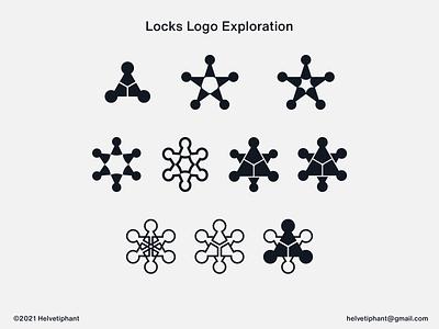 Locks - Logo Exploration logo design concept negative space logo creative logo minimalist logo five point star six point star star logo keyhole security locks logo design brand design branding icon logo