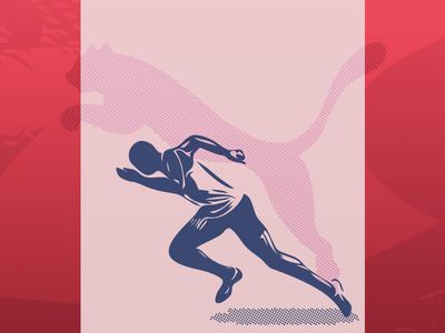 Puma - Shadow Runner closeup poster design poster collection poster silhouette vector illustration graphic design