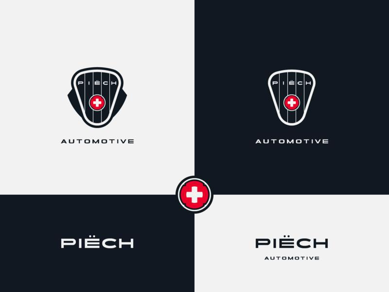 Piech Automotive - proposal emblem design emblem logo sports car swiss manufacturer electric car shapes vector brand design logotype typography branding icon logo