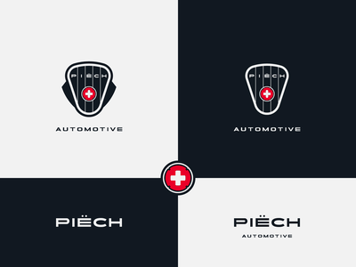 Piech Automotive - proposal emblem design emblem logo sports car swiss manufacturer electric car shapes vector brand design logotype typography branding icon logo