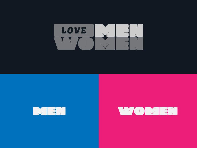 Love - Men - Women relationships hidden meaning fun words wordmark negative space sematic typography semantic women men love graphic design logotype typography icon logo