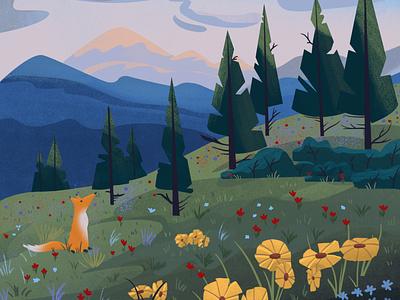 A fox in the mountains children illustration nature mountains illustration painting drawing cartoon illustrator digital art photoshop fox illustration digital painting design illustration