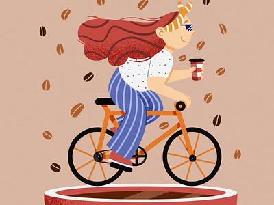 Coffee race art bicycle illustration coffee illustration girl on bike flat illustration flat art illustration drawing digital painting digital art design children illustration cartoon
